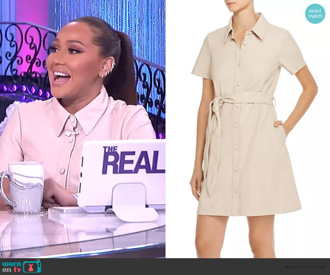 Faux Leather Shirt Dress by BlankNYC worn by Adrienne Houghton  on The Real