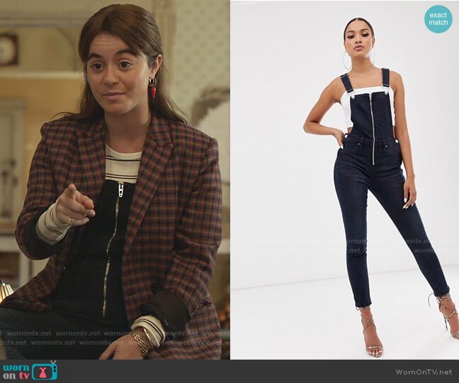 Overalls with Zipper Detail by Blank NYC worn by Alison Jaye on Shameless