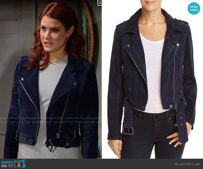 Blank NYC Suede Moto Jacket in Starry Night by BlankNYC worn by Sally Spectra (Courtney Hope) on The Bold & the Beautiful