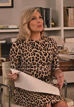 Brianna's leopard print dress on Grace and Frankie
