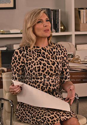 Brianna's leopard print dress on Grace and Frankie