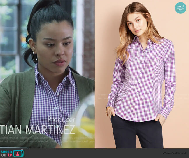Gingham Stretch Cotton Poplin Shirt by Brooks Brothers worn by Mariana Foster (Cierra Ramirez) on Good Trouble