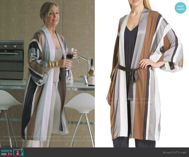 Monili Trim Stripe Satin Robe by Brunello Cucinelli worn by Jacqueline (Melora Hardin) on The Bold Type