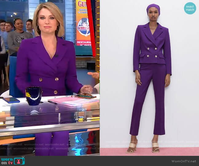 Buttoned Cropped Blazer and Mini Flare Pants by Zara worn by Amy Robach  on Good Morning America