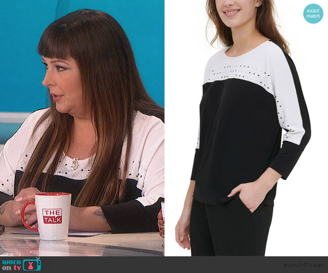 Colorblocked Studded Top by Calvin Klein worn by Carnie Wilson on The Talk