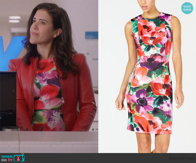 Floral Printed Sheath Dress by Calvin Klein worn by Shannon Ross (Nicole Power) on Kims Convenience