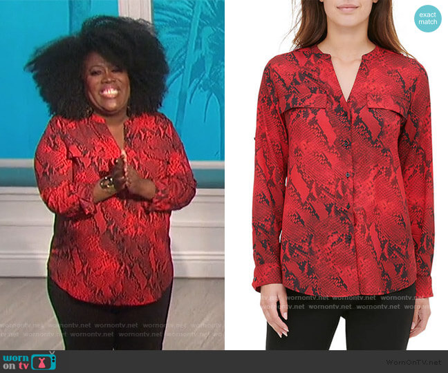 Roll Sleeve Snake Print Top by Calvin Klein worn by Sheryl Underwood  on The Talk