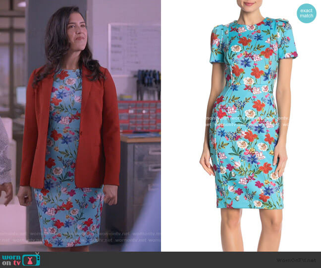 Springy Floral Short Sleeve Sheath Dress by Calvin Klein worn by Shannon Ross (Nicole Power) on Kims Convenience