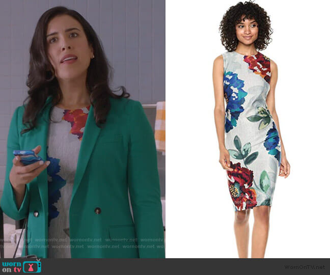 Floral Midi Dress by Calvin Klein worn by Shannon Ross (Nicole Power) on Kims Convenience
