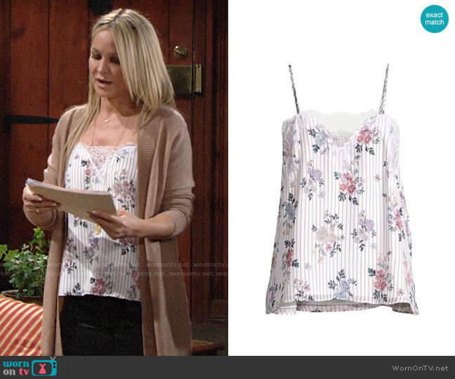Cami NYC  The Sweetheart Cami in Tea Party Floral by Cami NYC worn by Sharon Collins (Sharon Case) on The Young & the Restless