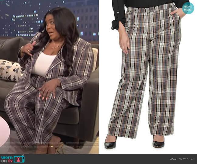 Cara Santana Plaid High Rise Bootcut Pants by Apt. 9 worn by Nina Parker  on E! News