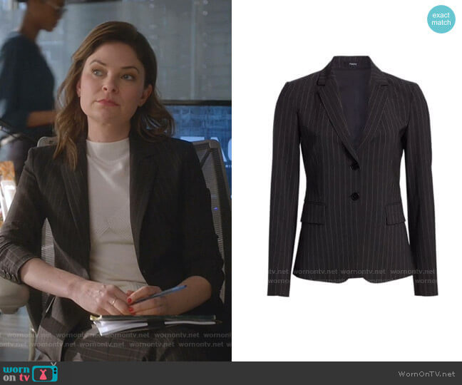 Theory Carissa Pinstripe Blazer worn by Taylor Rentzel (MacKenzie Meehan) on Bull