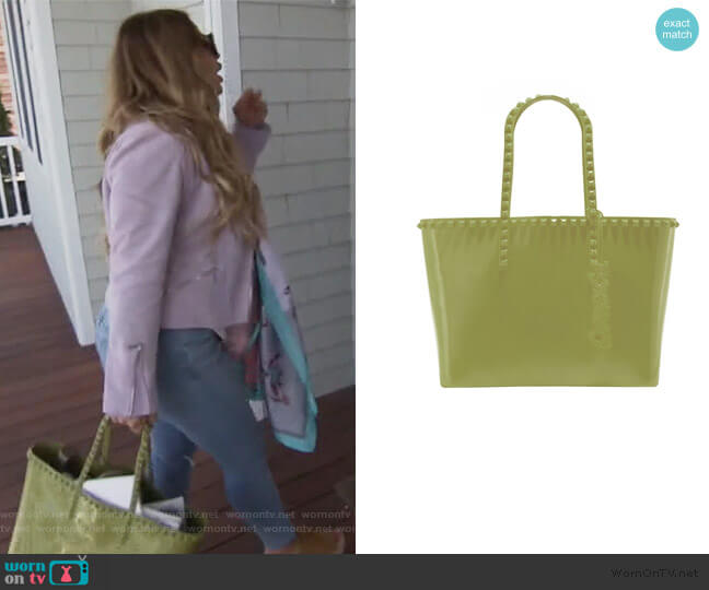 Seba Medium Studded Tote by Carmen Sol worn by Dolores Catania  on The Real Housewives of New Jersey