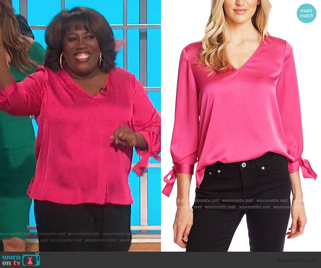 V-Neck Satin Blouse With Tie Sleeves by CeCe worn by Sheryl Underwood  on The Talk