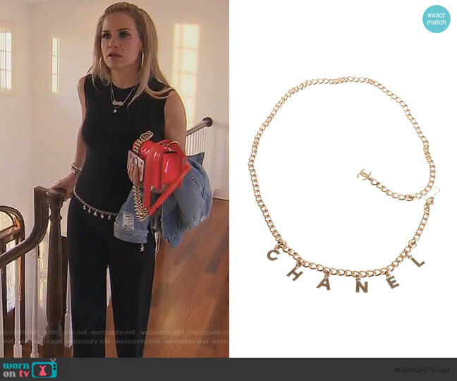 Chanel Letter Logo Belt worn by Jackie Goldschneider  on The Real Housewives of New Jersey