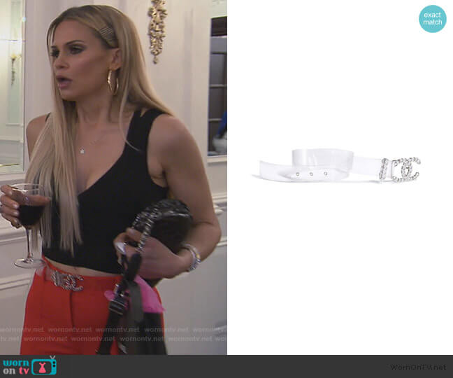 Transparent PVC Belt by Chanel worn by Jackie Goldschneider  on The Real Housewives of New Jersey