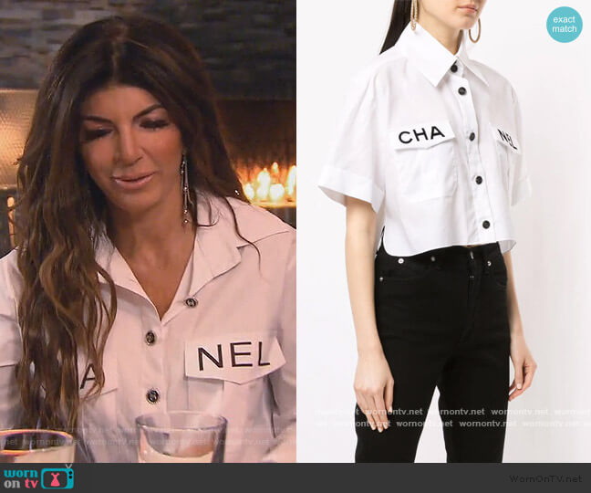 Cropped Logo Shirt by Chanel worn by Teresa Giudice  on The Real Housewives of New Jersey