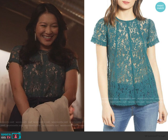 Green Lace Top by Chelsea28 worn by Kara Wang on Good Trouble