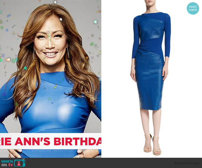 Malila Long-Sleeve Paneled Cocktail Dress by Chiara Boni La Petite Robe worn by Carrie Inaba  on The Talk