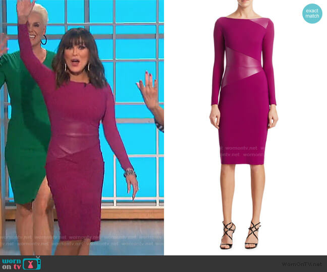 Off-The-Shoulder BodyCon Dress by Chiara Boni La Petite Robe worn by Marie Osmond  on The Talk