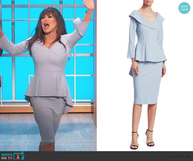 Zoya Long-Sleeve Peplum Sheath Dress by Chiara Boni La Petite worn by Marie Osmond  on The Talk