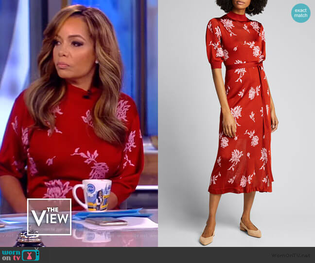 Embellished Floral Jacquard Midi Dress by Chloe worn by Sunny Hostin  on The View