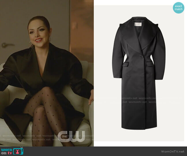 Double-Breasted Duchesse-Satin Coat by Christopher Kane worn by Fallon Carrington (Elizabeth Gillies) on Dynasty