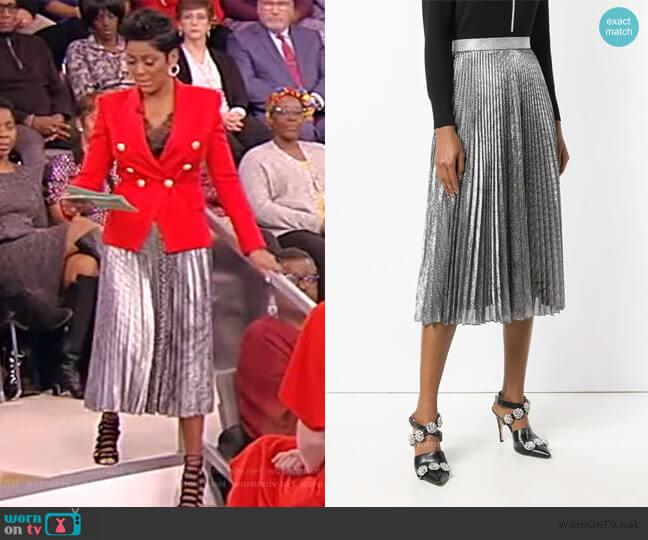 Metallic Pleated Midi Skirt by Christopher Kane worn by Tamron Hall  on Tamron Hall Show