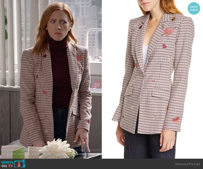 Cinq a Sept Estelle Blazer worn by Julia Bechley (Brittany Snow) on Almost Family