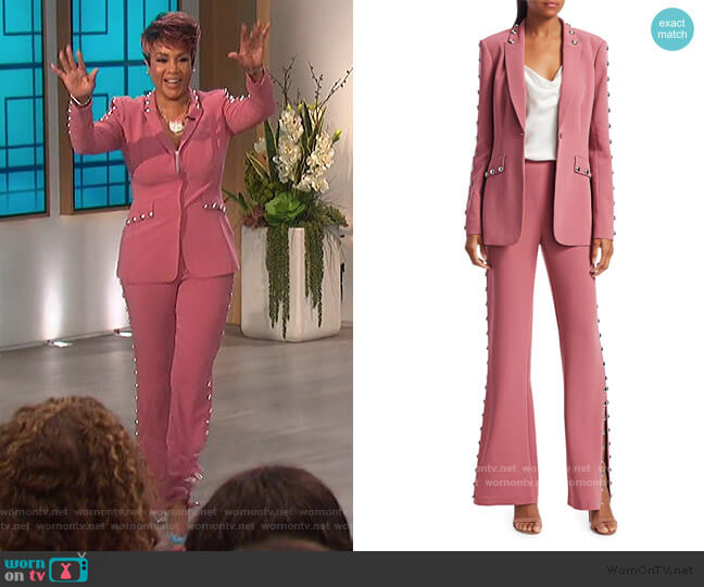 Dive Studded Blazer and Highland Pants by Cinq a Sept worn by Vivica A Fox on The Talk