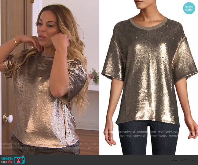 Lorena Crewneck Short-Sleeve Sequin Tee by Cinq a Sept worn by Dolores Catania  on The Real Housewives of New Jersey