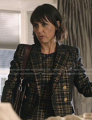Claudia's metallic plaid tweed jacket and dress on Shameless