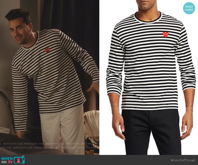 Mini Heart Long-Sleeve Cotton Tee by Comme des Garcons Play worn by David Rose (Daniel Levy) on Schitts Creek