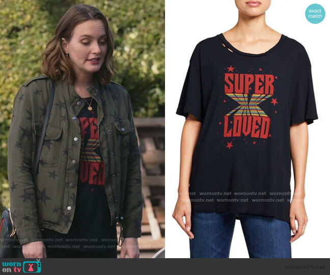 The CG Distressed Cotton Graphic Tee by Current/Elliott worn by Angie (Leighton Meester) on Single Parents