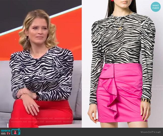 Amara Puff-Sleeve Zebra-Print Top by Derek Lam 10 Crosby worn by Sara Haines  on Good Morning America