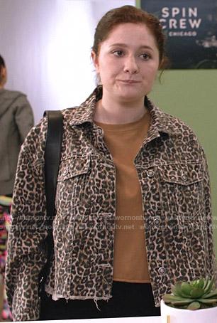Tami's black hooded leather jacket on Shameless