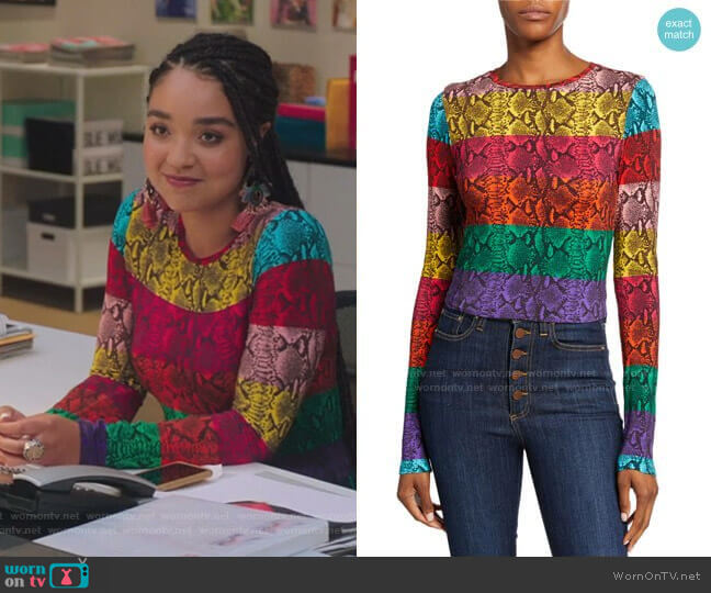 Delaina Stripe Reptile Print Crop Top by Alice + Olivia worn by Kat Edison (Aisha Dee) on The Bold Type