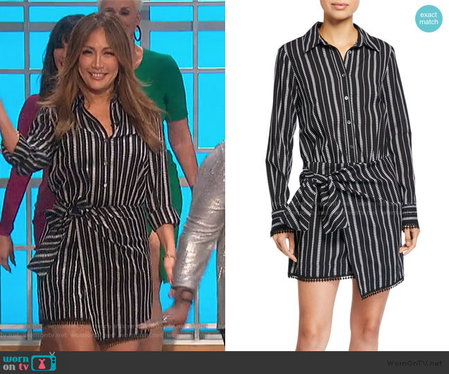 Eunice Striped Shirt Dress by Derek Lam 10 Crosby worn by Carrie Inaba  on The Talk