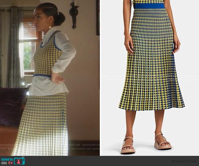 Graphic-Gingham Jacquard Midi-Skirt by Derek Lam 10 Crosby worn by Zoey Johnson (Yara Shahidi) on Grown-ish