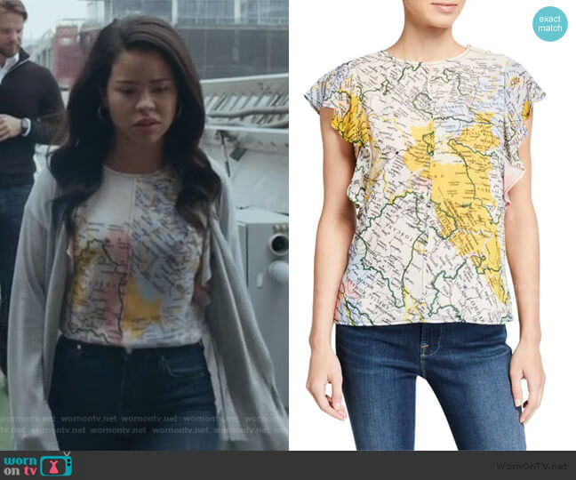 Ruffle-Sleeve Map Crewneck Top by Derek Lam 10 Crosby worn by Mariana Foster (Cierra Ramirez) on Good Trouble