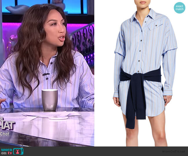 Tie Waist Shirt Dress by Derek Lam 10 Crosby worn by Jeannie Mai  on The Real