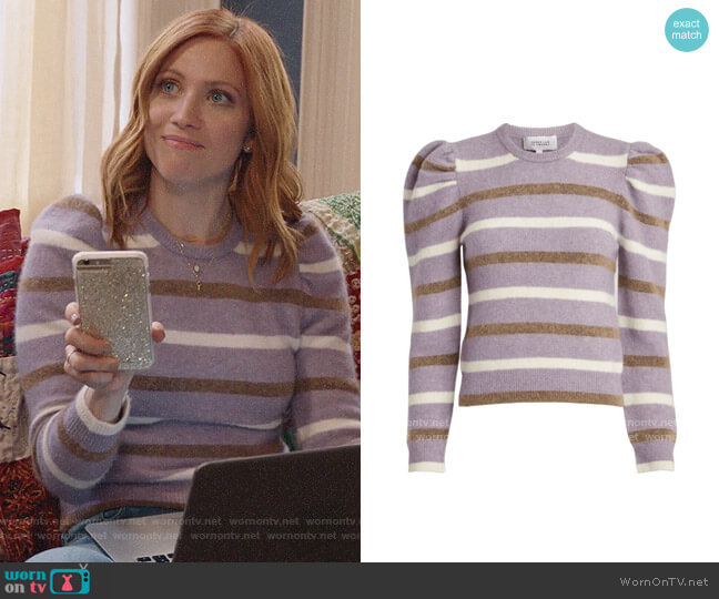 Derek Lam 10 Crosby Striped Puff Sleeve Sweater worn by Julia Bechley (Brittany Snow) on Almost Family