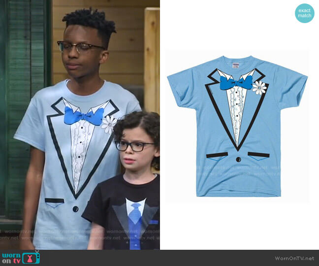 Vintage Tuxedo Tux T Shirt by DirtyRagz worn by Noah Lambert (Israel Johnson) on Bunkd