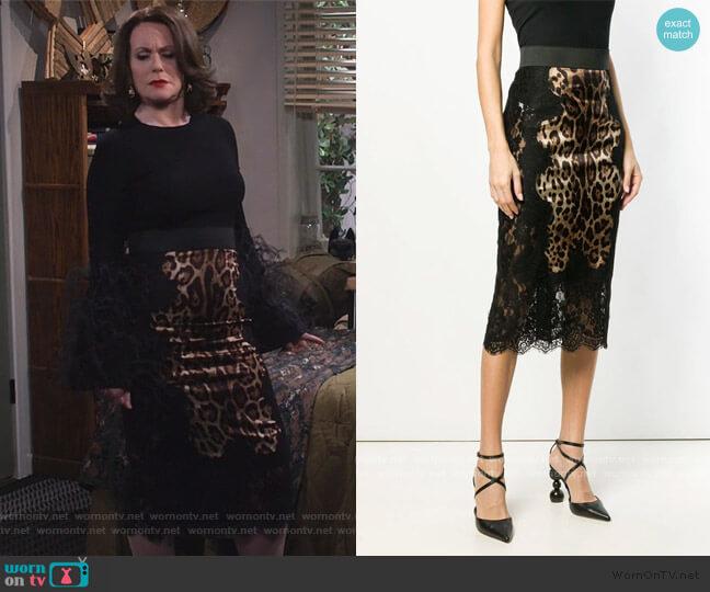 Leopard Print Pencil Skirt by Dolce & Gabbana worn by Karen Walker (Megan Mullally) on Will & Grace