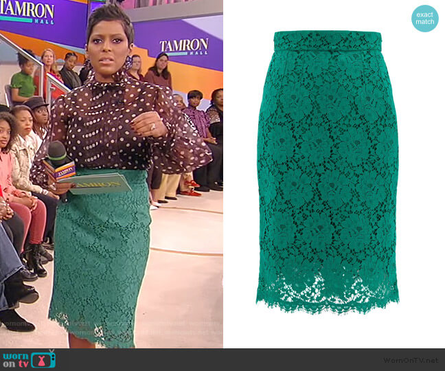 Floral cotton-blend guipure-lace skirt by Dolce & Gabbana worn by Tamron Hall  on Tamron Hall Show