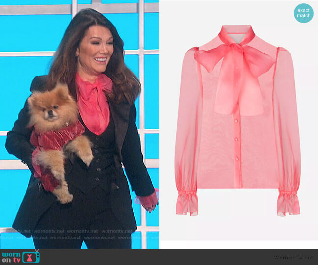 Organza Shirt With Bow by Dolce & Gabbana worn by Lisa Vanderpump on The Talk