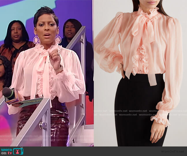 Pussy-bow ruffled silk-chiffon blouse by Dolce & Gabbana worn by Tamron Hall  on Tamron Hall Show