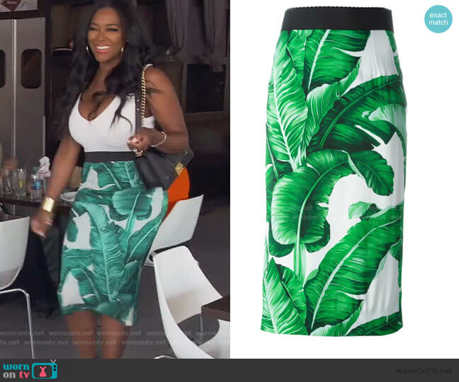Banana Leaf Printed Skirt by Dolce & Gabbana worn by Kenya Moore  on The Real Housewives of Atlanta