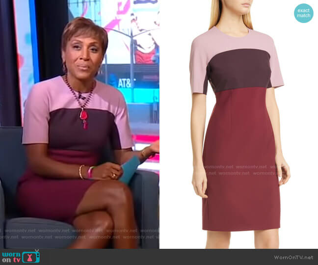 Donena Colorblock Dress by Boss worn by Robin Roberts  on Good Morning America