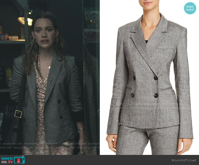 Double Breasted Blazer by Theory worn by Love Quinn (Victoria Pedretti) on You